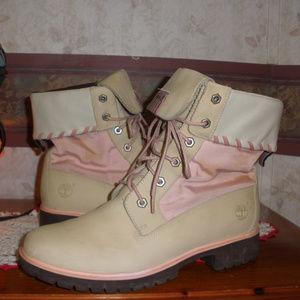 Timberland 6 Inch Beige/Light Pink Womens